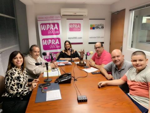 """Mrs. Hilda Renovales Cruz, Executive Director with the President of the Local Board Mr. José A. Justiniano in the Radio Meet Our People Program with Mrs. Lilly Rosas De Jesus and Mr. Denny Soto. Promoting the Services of the Single Management Center / """"American Job Center"""""""