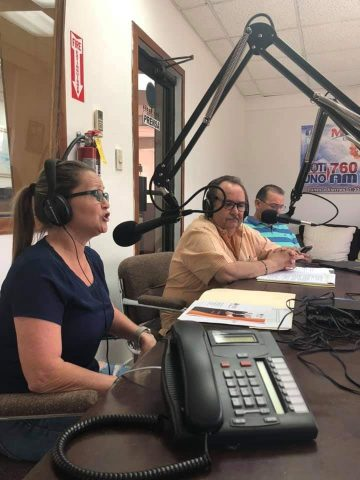 Mrs. Dessy Serrano, Coordinator of Promotion and Employment and the President of the Local Board Mr. José A. Justiniano participating in the Radio Program of the Puerto Rico West Chamber of Commerce, Inc. From Noti Uno, promoting the services and activities available for business and people in search of employment